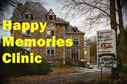 Old abandoned clinic with 'Happy Memories Clinic'
